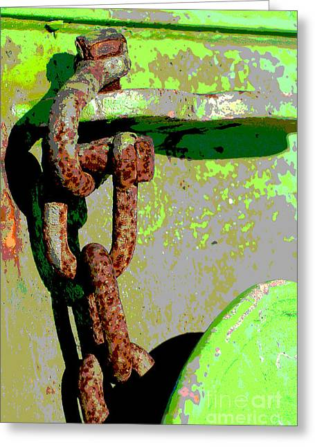 Caves Greeting Cards - Industrial Chain - Green and Rust Pop Art Greeting Card by ArtyZen Studios - ArtyZen Home