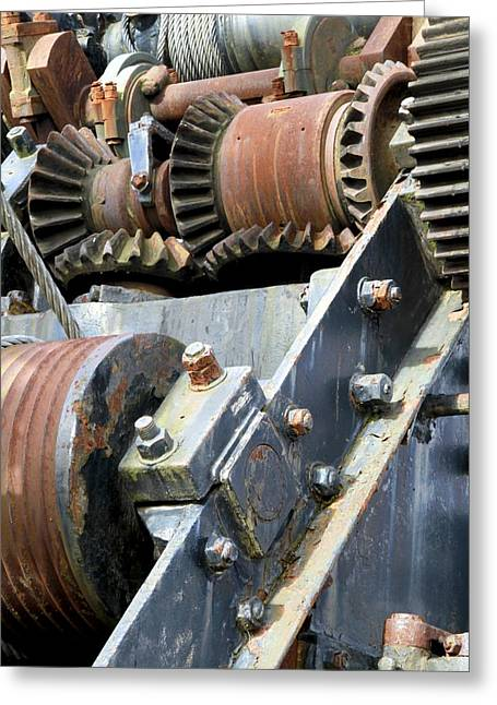 Cog Wheels Greeting Cards - Industrial cogs and pulley wheels Greeting Card by Science Photo Library