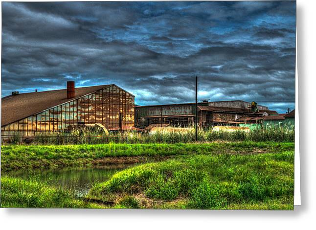 Trembling Greeting Cards - Industrial Complex with Angry Sky Greeting Card by Douglas Barnett