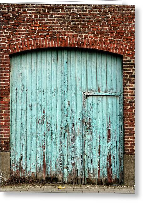 Wooden Building Pyrography Greeting Cards - Industrial door in blue colors Greeting Card by Oliver Sved