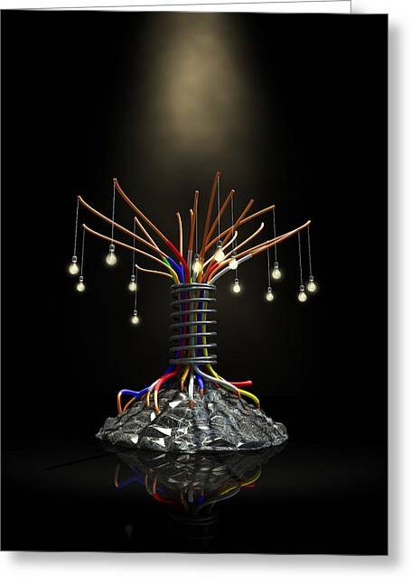Robotic Life Greeting Cards - Industrial Future Tree Greeting Card by Allan Swart