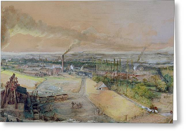 Polluting Greeting Cards - Industrial Landscape in the Blanzy Coal Field Greeting Card by Ignace Francois Bonhomme