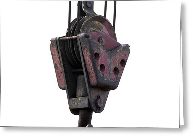 Industrial lifting hook and pulley Greeting Card by Science Photo Library