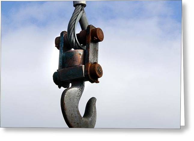 Industrial lifting hook Greeting Card by Science Photo Library