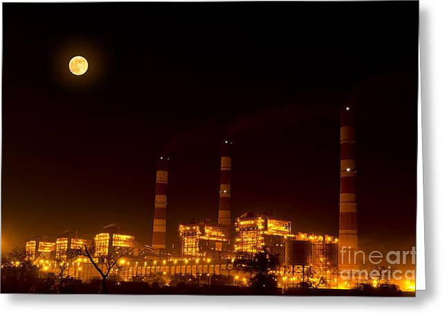 Industrial light in full moon night Greeting Card by Image World