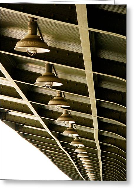 Olive Drab Greeting Cards - Industrial Lights Greeting Card by Randi Kuhne