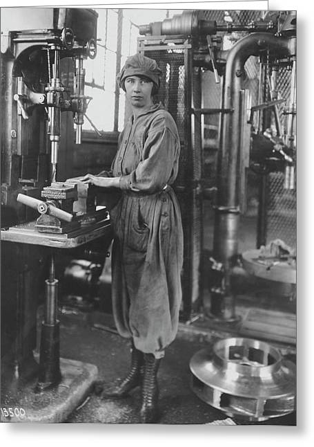 Industrial Machine Operator Greeting Card by Hagley Museum And Archive