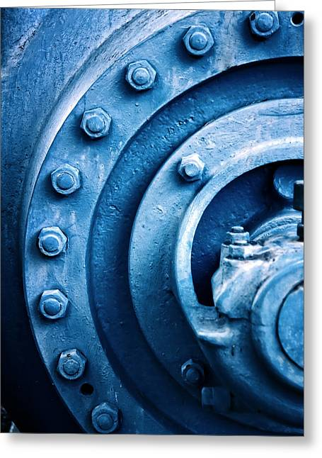 Metallic Sheets Greeting Cards - Industrial Piece In Blue With Screws Greeting Card by Joel Vieira