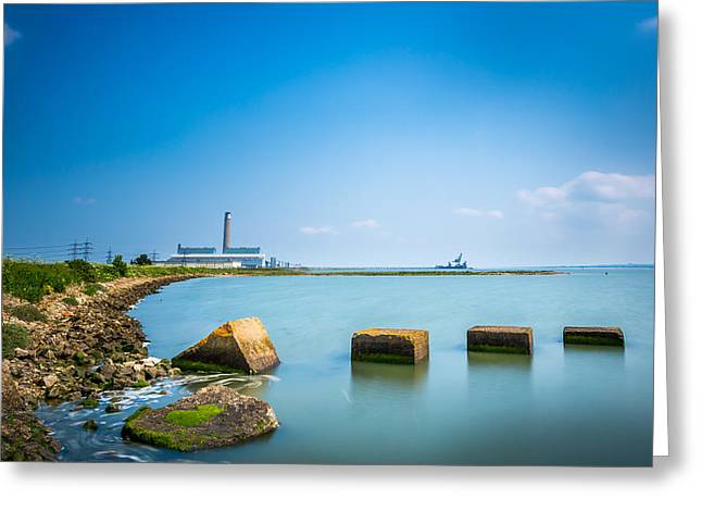 River Medway Greeting Cards - Industrial River Scene Greeting Card by Gary Gillette
