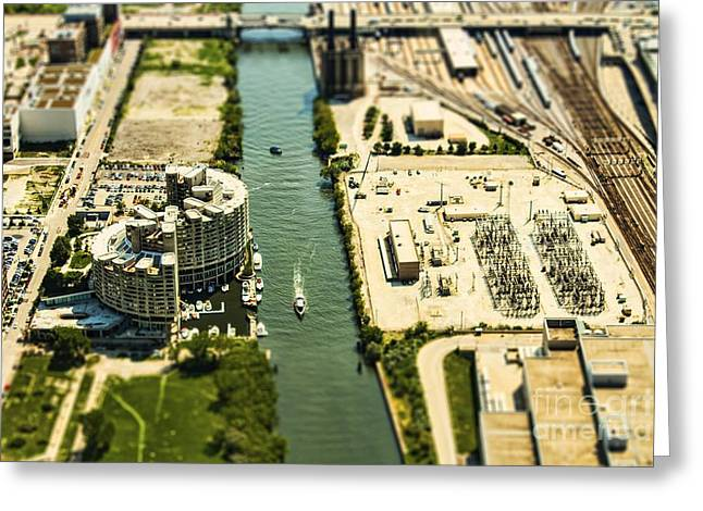 Overhead Greeting Cards - Industrial Riverside Greeting Card by Andrew Paranavitana