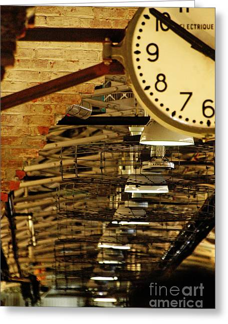 Advertising Office Greeting Cards - Industrial Rustic Clock Greeting Card by Anahi DeCanio