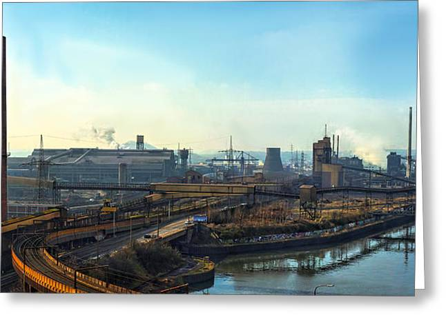 Power Plants Pyrography Greeting Cards - Industrial scene wirh large factory Greeting Card by Oliver Sved