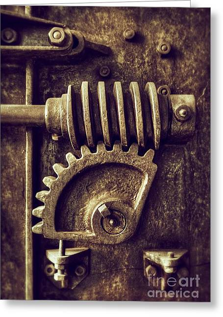 Old Objects Greeting Cards - Industrial Sprockets Greeting Card by Carlos Caetano