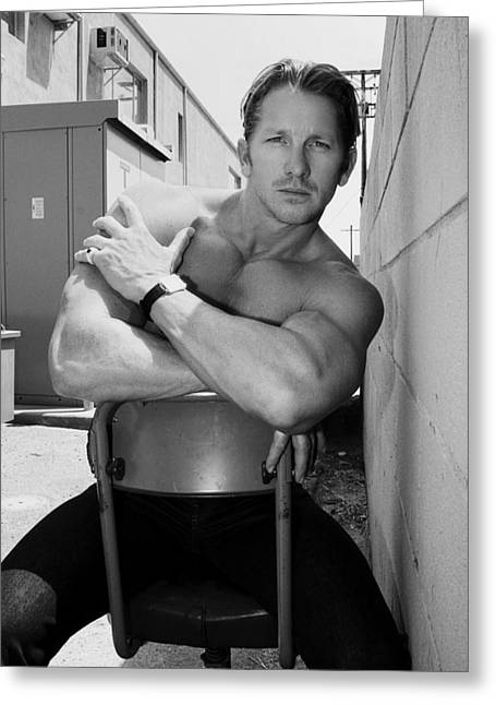 Biceps Greeting Cards - INDUSTRIAL STRENGTH BW Palm Springs Greeting Card by William Dey