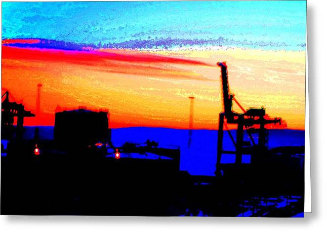 Dr J Greeting Cards - Industrial sunset Greeting Card by Hilde Widerberg