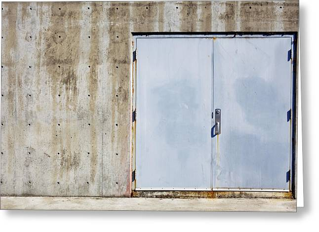 Building Feature Photographs Greeting Cards - Industrial unit double doors Greeting Card by Nathan Griffith
