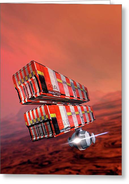 Industrial Vehicles On Mars Greeting Card by Victor Habbick Visions