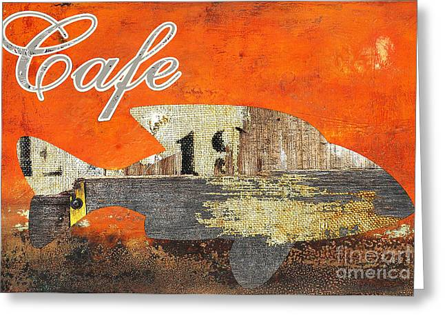 Advertising Mixed Media Greeting Cards - Industrial Vintage Cafe Sign Greeting Card by AdSpice Studios