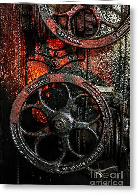 Iron Greeting Cards - Industrial Wheels Greeting Card by Carlos Caetano