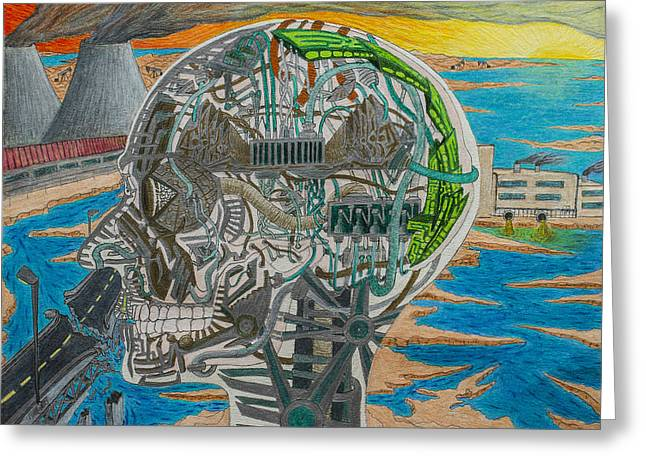 Oil Lamp Drawings Greeting Cards - Industrialist Transhumanism Greeting Card by Maxwell Hanson