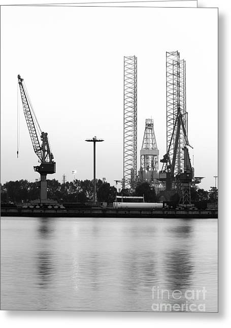 Sea Platform Greeting Cards - Industry - Drilling rig and cranes Greeting Card by Colette Planken-Kooij