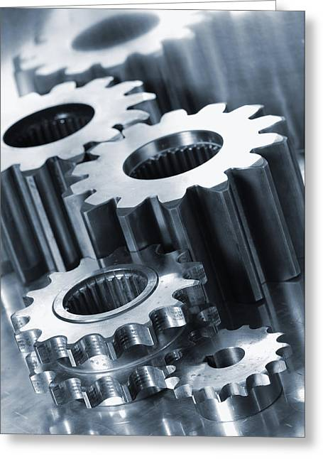 Stainless Steel Greeting Cards - Industry Engineering Gears And Cogs Greeting Card by Christian Lagereek