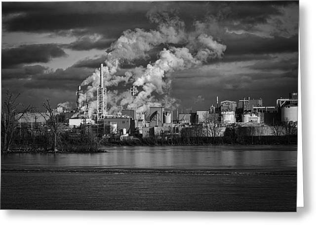 Fox River Mills Greeting Cards - Industry In Black and White 1 Greeting Card by Thomas Young