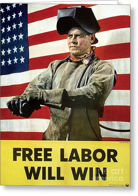 Free Will Greeting Cards - Industry Labour Poster, World War Ii Greeting Card by Hagley Archive