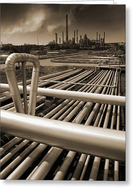 Fuels Greeting Cards - Industry Oil Gas And Fuel Greeting Card by Christian Lagereek