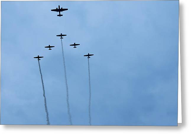 Smoke Trail Greeting Cards - Indy 500 2013 Flyover Greeting Card by David Haskett