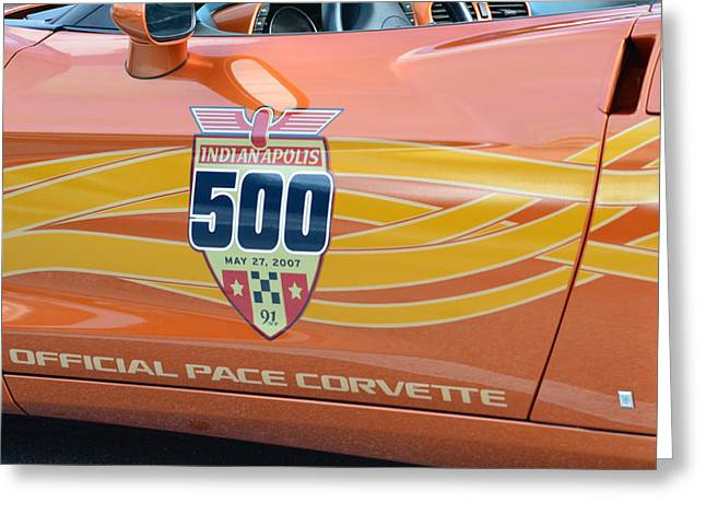 Indy Car Greeting Cards - Indy 500 Pace Corvette Door Greeting Card by Edwina Hughes