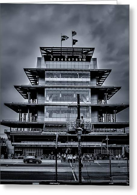Recently Sold -  - Indy Car Greeting Cards - Indy 500 Pagoda - Black and White Greeting Card by Ron Pate