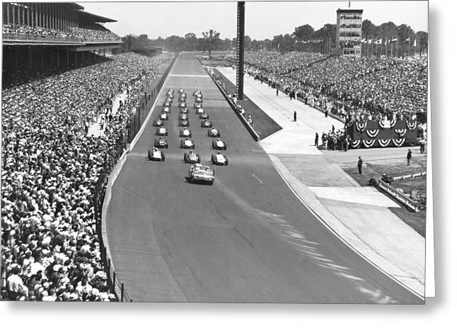 Indy 500 Parade Lap Greeting Card by Underwood Archives