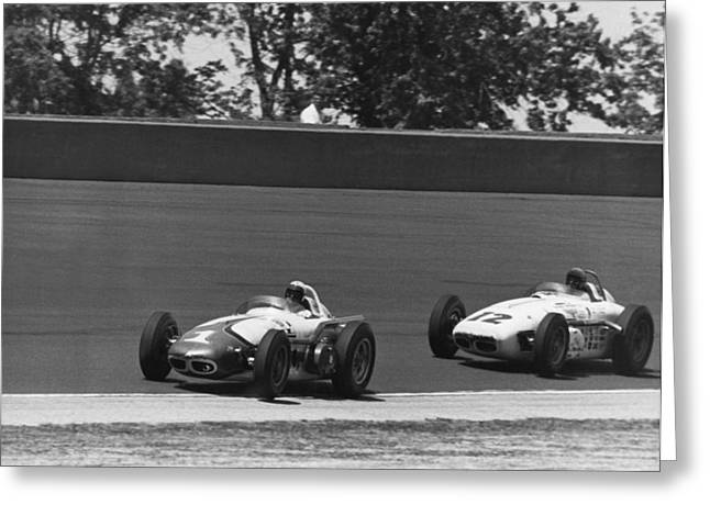 Indy 500 Race Cars Greeting Card by Underwood Archives