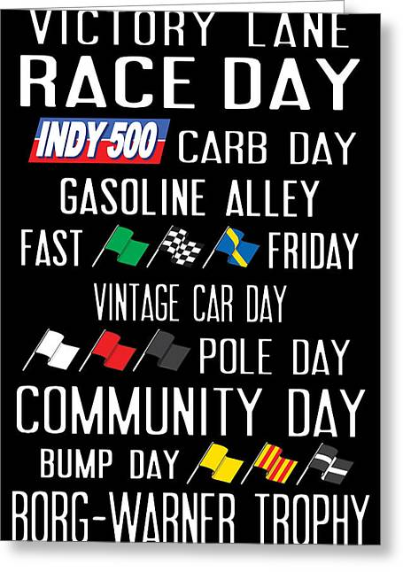Indy Car Greeting Cards - Indy 500 Greeting Card by Wendy Boomhower