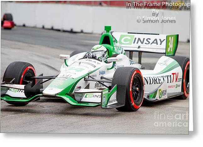 Andretti Autosport Greeting Cards - Indy car  Greeting Card by Simon Jones