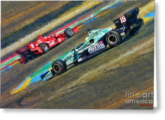 Indy Car Greeting Cards - Indy Cars Graham Rahal Greeting Card by Blake Richards