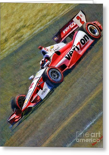 Indy Car Greeting Cards - Indy Cars Juan Pablo Montoya Greeting Card by Blake Richards
