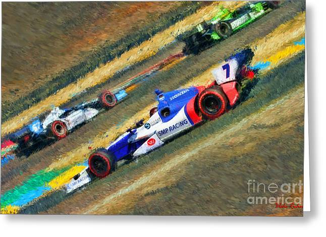 Indy Car Greeting Cards - Indy Cars Mikhail Aleshin  Greeting Card by Blake Richards