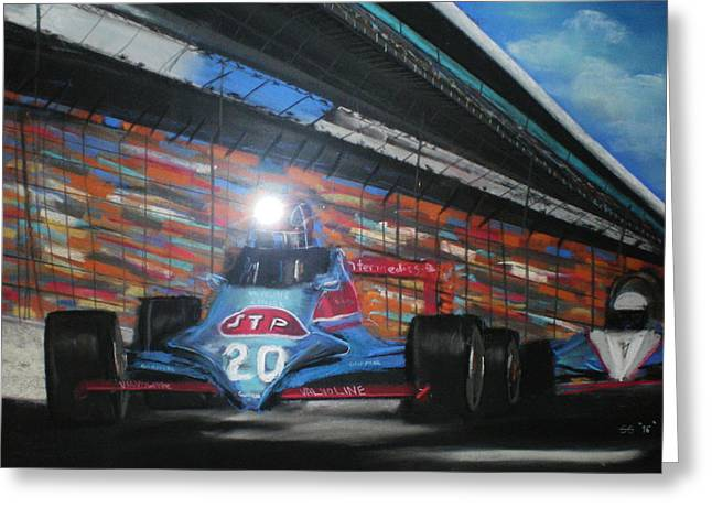 Indy Car Pastels Greeting Cards - Indy Cars Greeting Card by Shannon Gerdauskas