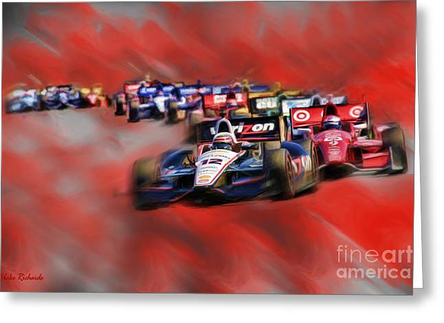 Will Power Greeting Cards - Indy Cars Will Power Greeting Card by Blake Richards
