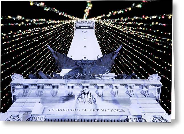 Indiana Christmas Greeting Cards - Indy Christmas Lights Greeting Card by Joji Ishikawa