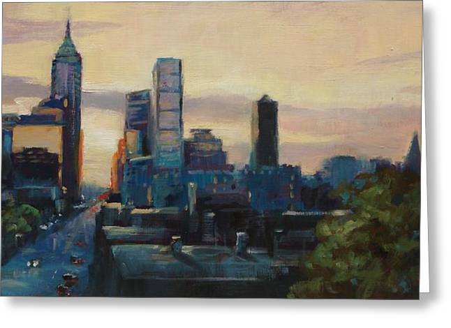 Indiana Scenes Greeting Cards - Indy City Scape Greeting Card by Donna Shortt