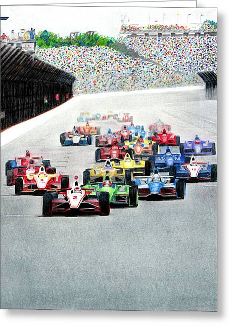 Indy Car Greeting Cards - Indy Greeting Card by Lyle Brown