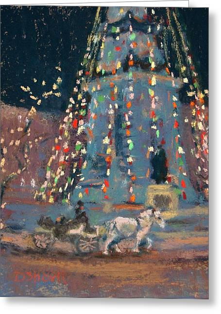 Donna Shortt Greeting Cards - Indy Monument Lights Greeting Card by Donna Shortt