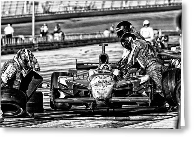 Indy Car Greeting Cards - Indy Pit  Greeting Card by Kevin Cable