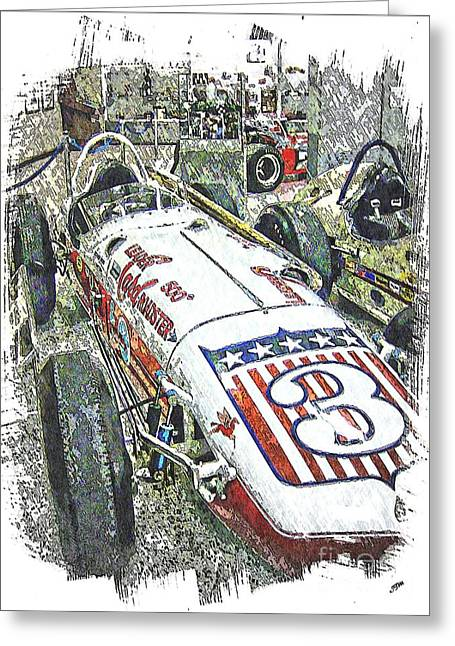 Indy Car Greeting Cards - Indy race Car 6 Greeting Card by Spencer McKain
