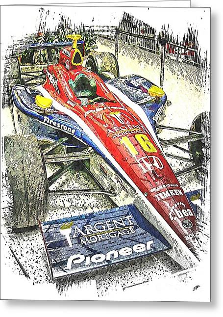 Indy Car Greeting Cards - Indy Race Car 7 Greeting Card by Spencer McKain