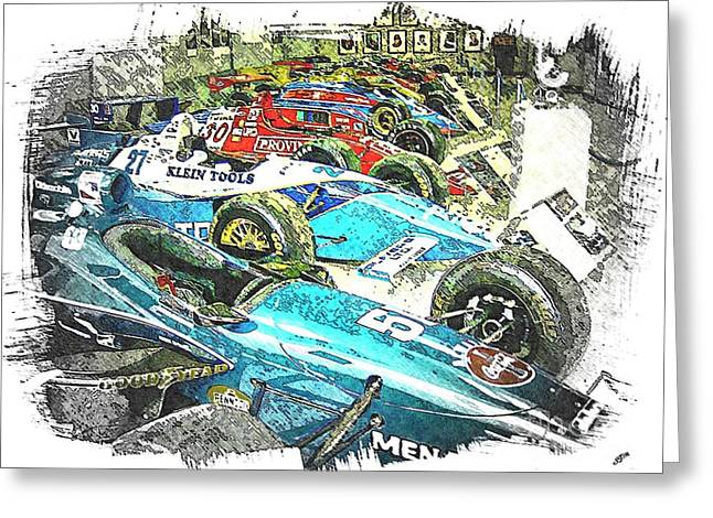 Indy Car Greeting Cards - Indy Race Car Line Up Greeting Card by Spencer McKain