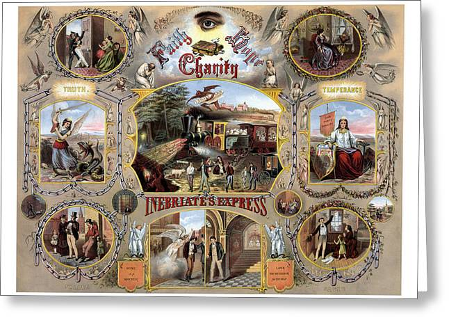 Saloons Greeting Cards - Inebriate Express Vintage Temperance Poster Greeting Card by War Is Hell Store